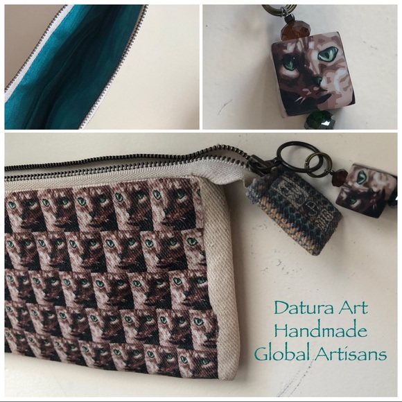 Datura Art Handmade Global Artisans Cat Pouch
